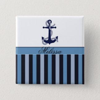 Nautical Anchor and Stripes Blue 15 Cm Square Badge