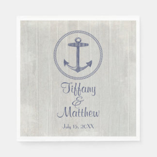 Nautical Anchor and Weathered Personalized Wedding Disposable Napkin