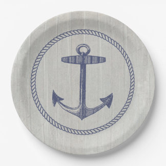 Nautical Anchor and Weathered Wood 9 Inch Paper Plate