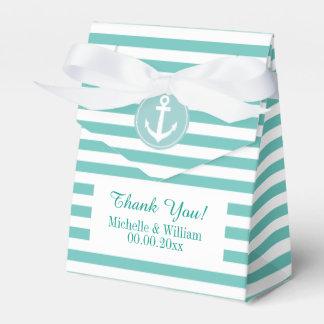 Nautical anchor aqua blue stripe wedding favor box