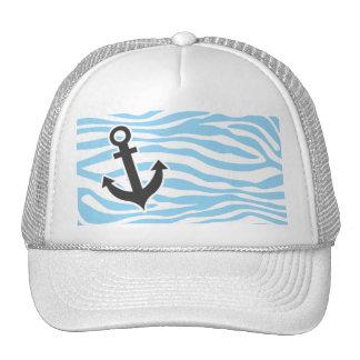 Nautical Anchor; Baby Blue Zebra Animal Print Trucker Hat