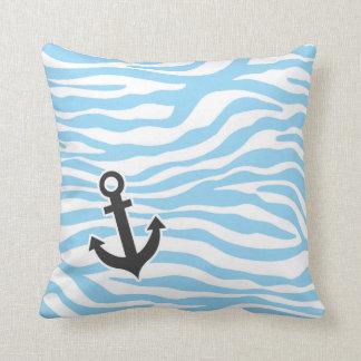 Nautical Anchor; Baby Blue Zebra Animal Print Pillows