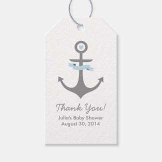 Nautical Anchor Baby Shower Favor Tags Light Blue