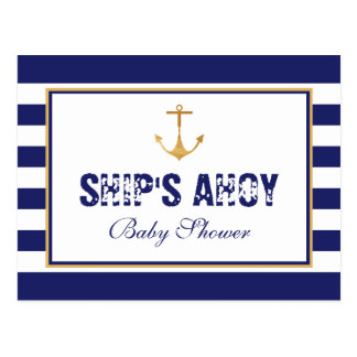 Nautical Anchor Baby Shower Invitation Postcard