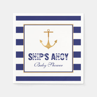 Nautical Anchor Baby Shower Paper Serviettes
