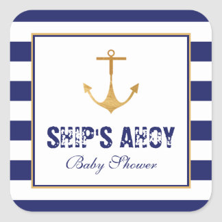 Nautical Anchor Baby Shower Square Sticker