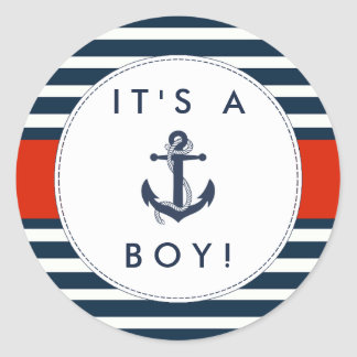 Nautical Anchor Baby Shower Stickers - It's A Boy!