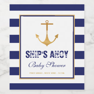 Nautical Anchor Baby Shower Wine Label