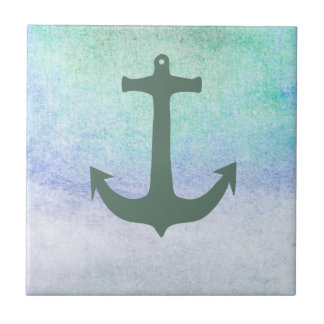 Nautical Anchor Beach Blue Summer vintage Tile