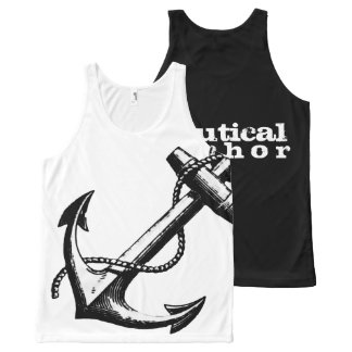 Nautical Anchor Black and White All-Over Print Singlet