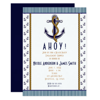 Nautical Anchor Blue and White Striped Invitation