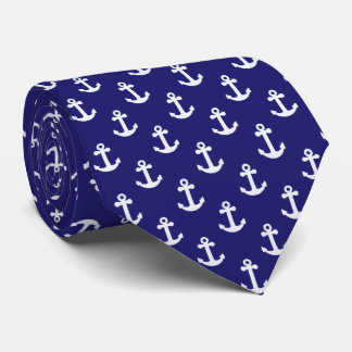Nautical Anchor Blue and White Tie