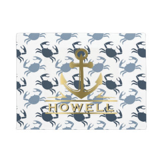 Nautical Anchor Blue Crabs Beach House Name Doormat