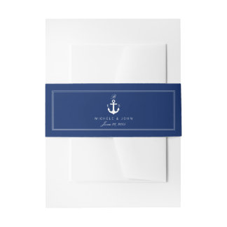 Nautical Anchor Blue Elegant Monogram Belly Bands Invitation Belly Band