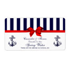 Nautical Anchor Blue White Stripe H Water Label