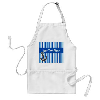 Nautical Anchor; Blue & White Stripes Standard Apron