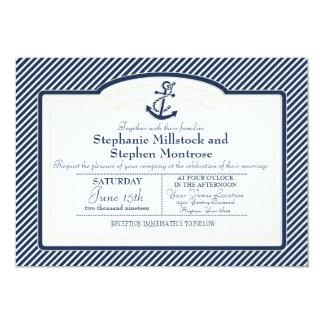 "Nautical Anchor Boat Diagonal Stripes Swirl Modern 5"" X 7"" Invitation Card"