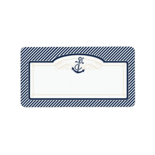 Nautical Anchor Boat Diagonal Stripes Swirl Modern Label
