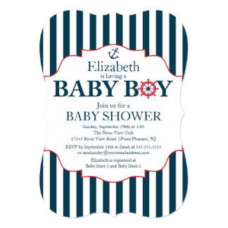 "Nautical Anchor Boys Baby Shower 5"" X 7"" Invitation Card"