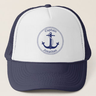 Nautical Anchor Captain Personalized Trucker Hat