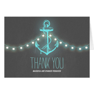 Nautical Anchor Chalkboard Wedding Thank You Note Card