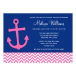 Nautical Anchor Chevron Blue Pink Bridal Shower Custom Invitations