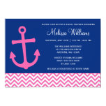 Nautical Anchor Chevron Blue Pink Bridal Shower Invitations
