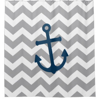 Nautical Anchor Chevron Navy Blue Gray Shower Curtain
