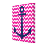 Nautical Anchor Chevron Wall Art in Pink and Navy