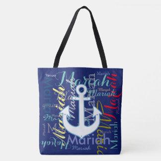 nautical anchor & colorful names tote bag