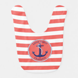 Nautical Anchor Coral Striped Personalized Girl's Bib