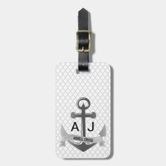 Nautical Anchor Cruise Vacation Quatrefoil Silver Luggage Tag