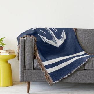 Nautical Anchor Custom Monograms Navy Throw Blanket