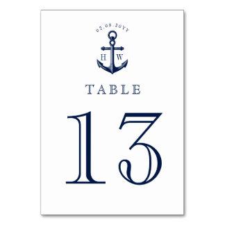 Nautical Anchor Custom Monograms Table Number