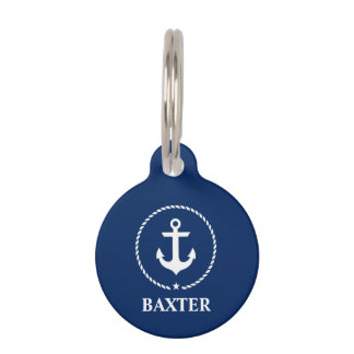Nautical Anchor Dog Tag - Phone on Back