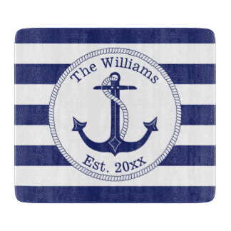 "Nautical Anchor Family Name 6"" x 7"" Cutting Board"