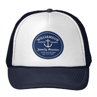 Nautical Anchor Family Reunion Trip Cruise Beach Cap