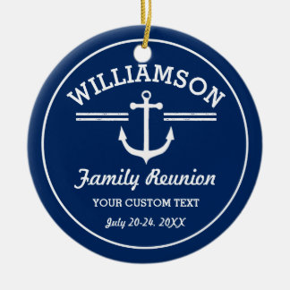 Nautical Anchor Family Reunion Trip Cruise Beach Ceramic Ornament