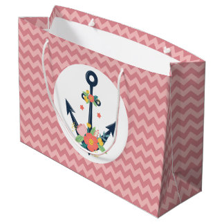 Nautical Anchor Floral Baby Girl Shower Party Large Gift Bag