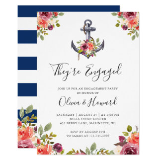 Nautical Anchor Floral Navy Blue Engagement Party Card