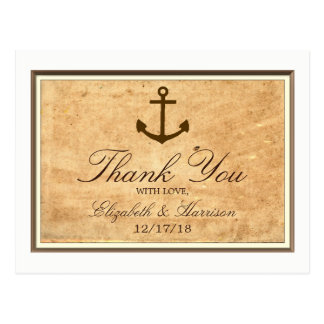 Nautical Anchor Framed Vintage Paper Thank You Postcard