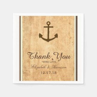 Nautical Anchor Framed Vintage Paper Wedding Disposable Serviette