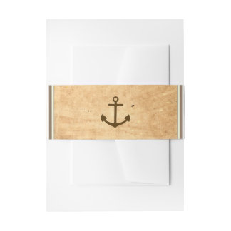 Nautical Anchor Framed Vintage Paper Wedding Invitation Belly Band