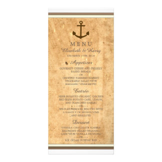 Nautical Anchor Framed Vintage Paper Wedding Menu