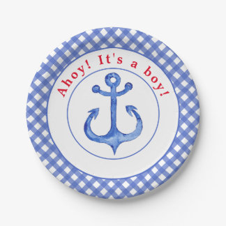 Nautical Anchor   Gingham Babyshower Paper Plate