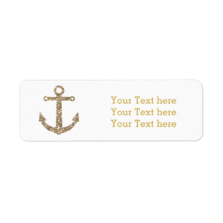Nautical Anchor Gold Glitter Glam Address Labels