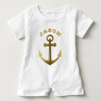 Nautical Anchor Gold Monogrammed Name Baby Bodysuit