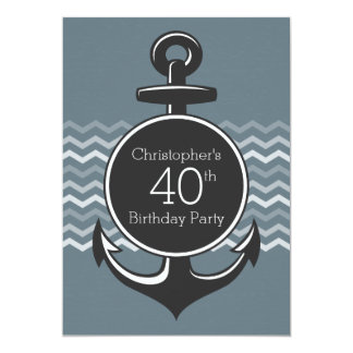 Nautical Anchor Gray Chevron 40th Birthday Party Card