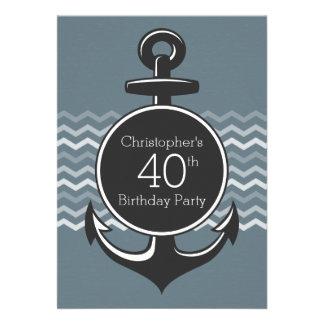 Nautical Anchor Gray Chevron 40th Birthday Party Custom Announcements