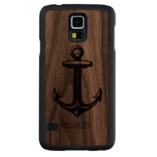 Nautical Anchor In Black leather Touch Of Gold Carved Walnut Galaxy S5 Case